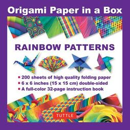 Origami Paper in a Box Rainbow Patterns