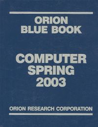Orion Blue Book Computer 2003