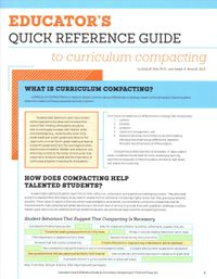 Educator's Quick Reference Guide to curriculum compacting